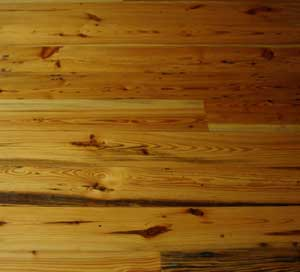 Antique Heart Pine Flooring  with High Gloss Finish