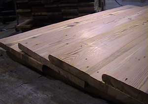 Antique Heart Pine Stairtreads ready for installation.