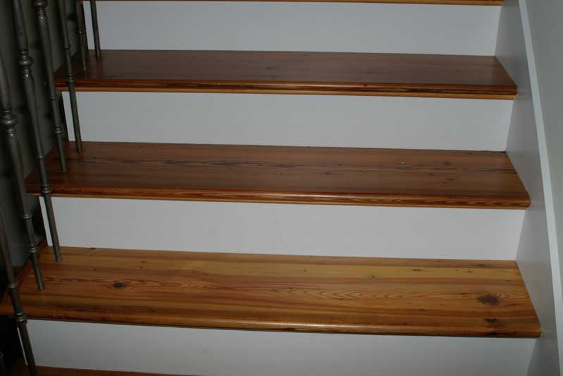 Superieur Antique Heart Pine Stair Treads With Bullnosing And Left Hand Return