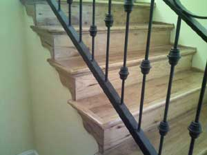 Hickory stair treads and risers and trim milled by Processingwood.com